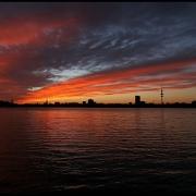 Sonnenuntergang über der Außenalster, Hamburg